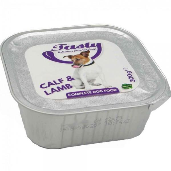 2,7kg Hundefutter Tasty Kalb & Lamm (9x300g) MHD:9/19