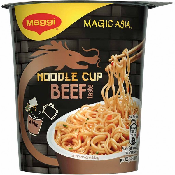 8x Maggi Magic Asia Noodle Cup Beef Chinese Soy Sauce á 63g=504g MHD:30.4.22