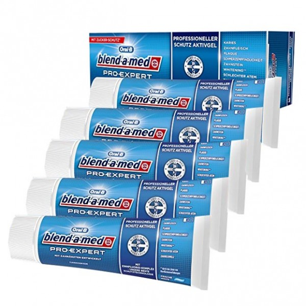 5x Oral-B blend-a-med Pro Expert Frische Minze Gel á 75ml MHD:11.7.18